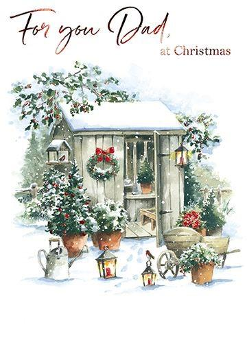 Christmas Card - Dad - Festive Potting Shed