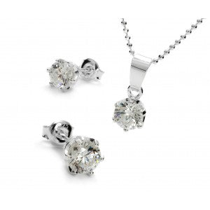 Jewellery - Necklace and Earrings Set Swarovski Zirconia 925 Silver
