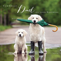 Dad Birthday - Golden Retriever Dog & Puppy