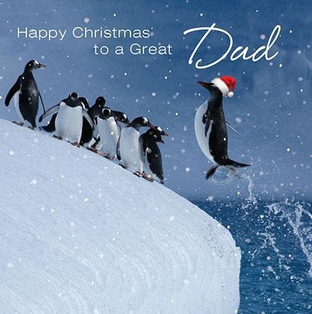Christmas Card - Dad - Jumping Penguins