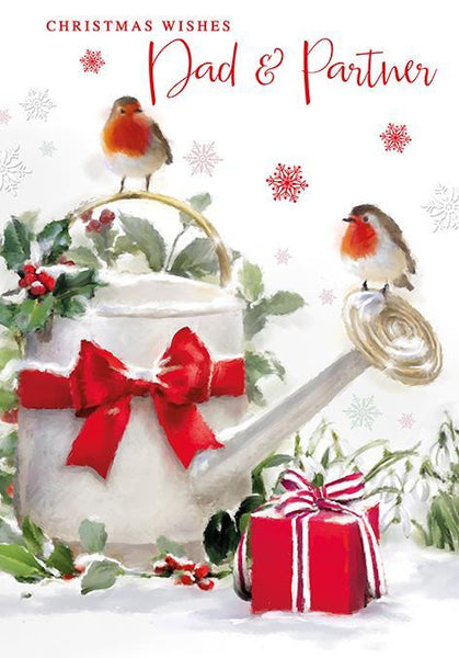 Christmas Card - Dad and Partner - Robins/Watering Can