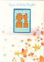 Female Relations, Daughter Birthday, Age 21 - Daughter Birthday Card - Embroidered - 21st Birthday