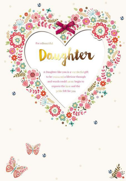 Daughter Birthday - Floral Heart