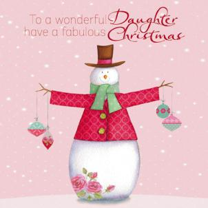 Christmas Card - Daughter - Wonderful Daughter At Xmas