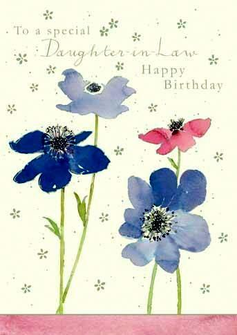 Daughter-in-Law Birthday  - Blue And Pink Anemones