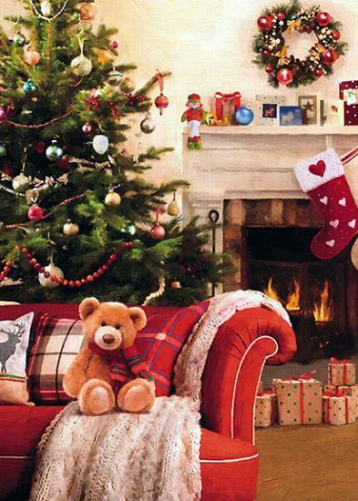 Christmas Card - Daughter - Teddy By The Fire