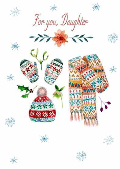 Christmas Card - Daughter - Hat, Scarf & Gloves