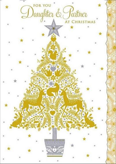 Christmas Card - Daughter and Partner - Xmas Deer Tree