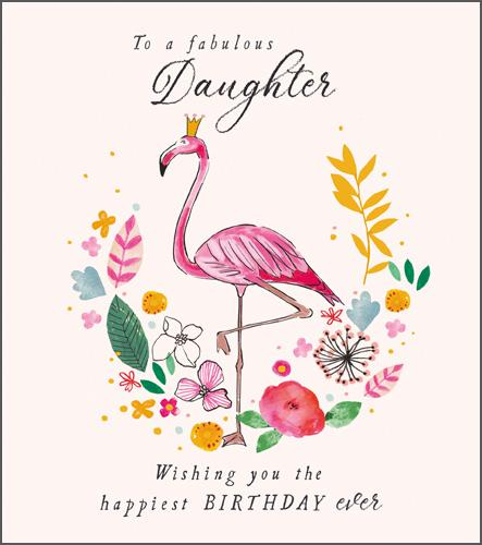 Female Relations, Daughter Birthday - Daughter Birthday - Fabulous Flamingo