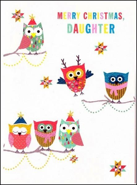Christmas Card - Daughter - Christmas Owls
