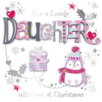 Christmas Card - Daughter - Penguin And Presents