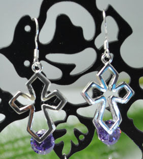 Jewellery - 925 Silver CZ Amethyst Cross Drop Earrings