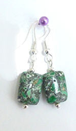Jewellery - 925 Silver Mottled Green Gemstone Drop Earrings