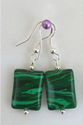 Jewellery - 925 Silver Wave Green Gemstone Drop Earrings