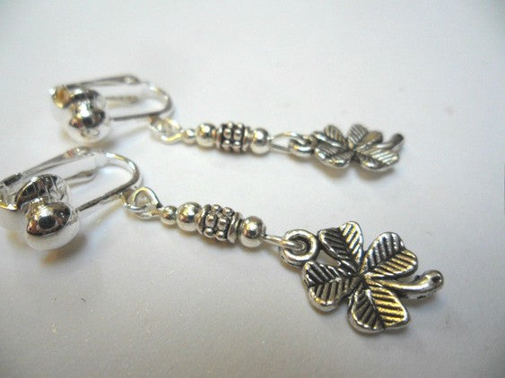 Jewellery - Tibet Silver Four Leaf Clover Clip-On Earrings
