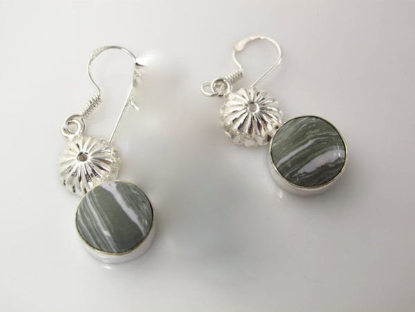 Jewellery - 925 Silver Zebra Jasper Drop Earrings