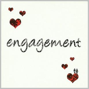 Engagement Card - 6 Red Hearts