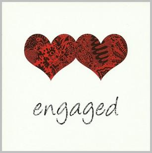 Engagement Card - 2 Red Hearts