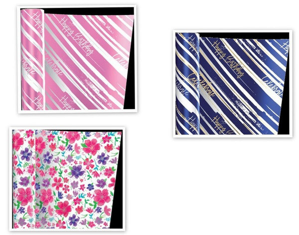 Gift Roll Wrap - Birthday Foil - Choice of 3 Designs