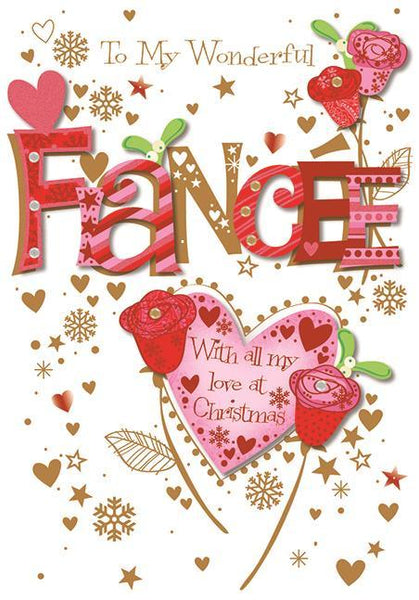 Christmas Card - Fiancée - Hearts & Flowers
