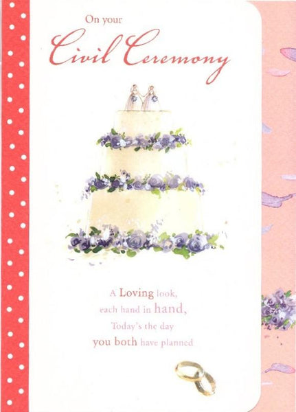 Commitment / Civil Partnership Card - Civil Ceremony - 2 Brides On Wedding Cake