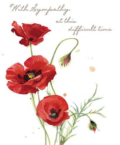 Sympathy Card - Poppies