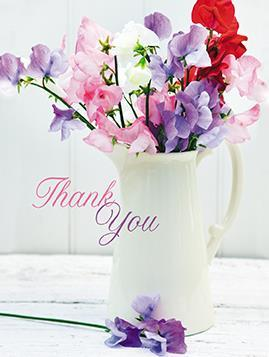 Thank You Cards - Pack of 4 - Sweet Peas
