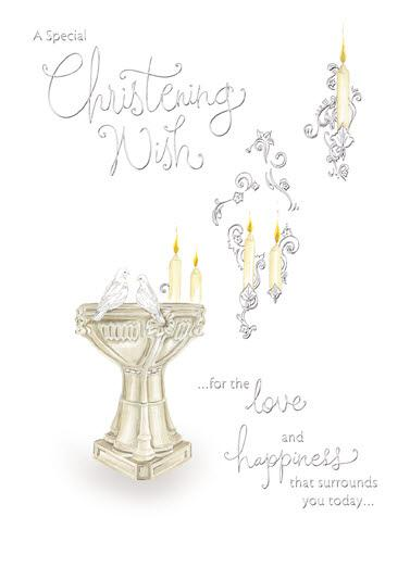 Christening Card - 2 Doves & Font