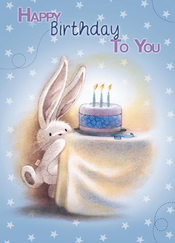 Children's Birthday Card - Bunni & Cake