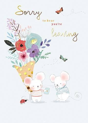 Leaving / Goodbye Card - Mice and Flowers