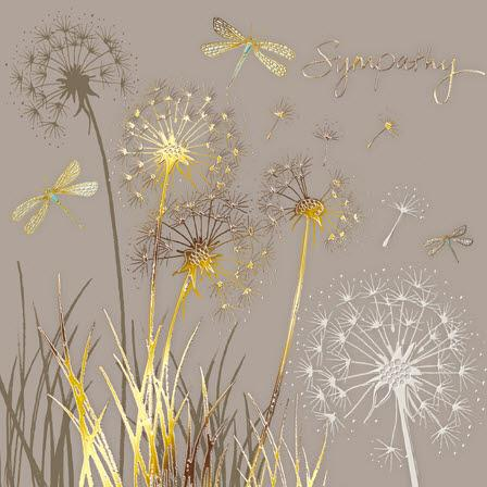 Sympathy Card - Dandelions and Dragonflies