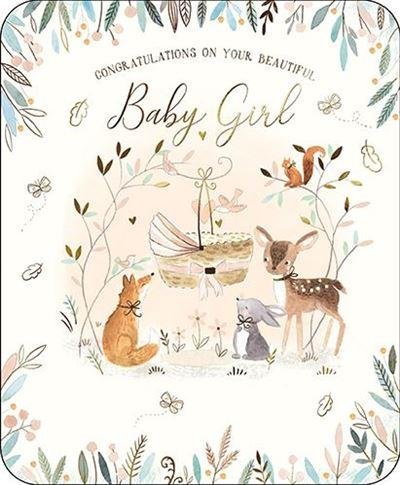 New Baby Card - Baby Girl - Woodland