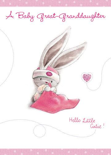 New Baby Card - Great-Granddaughter - Bebunni Hello Little Cutie!