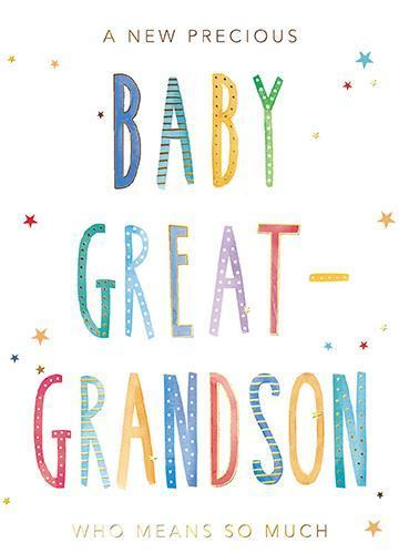 New Baby Card - Baby Great-Grandson - Means So Much