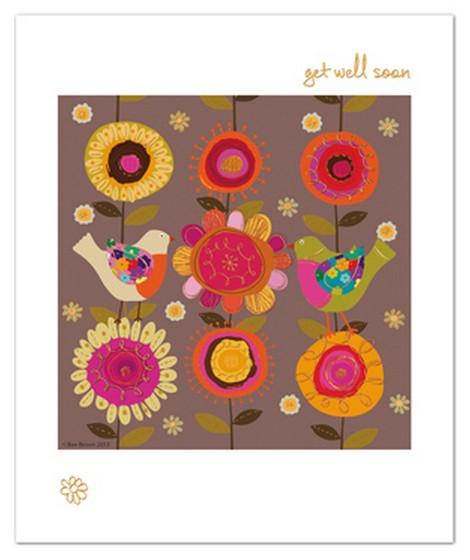 Get Well Soon Card - Birds & Flowers