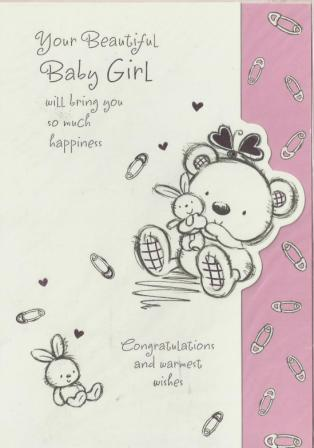 New Baby Card - Baby Girl - Nappy Pins