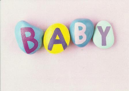 New Baby Card - Baby Girl - Baby Text On Pebbles