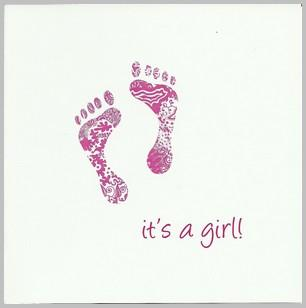New Baby Card - Baby Girl - Pink Footprints It's A Girl!