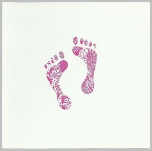 New Baby Card - Baby Girl - Pink Footprints