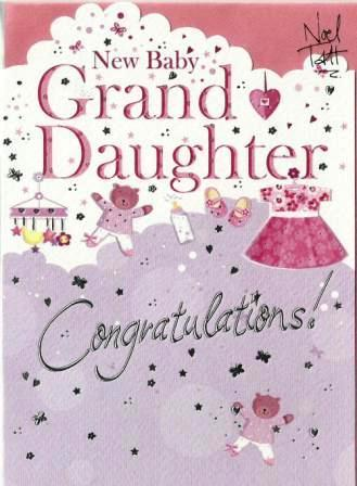 New Baby Card - Baby Granddaughter - Mobile Toys & Clothes