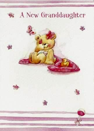 New Baby Card - Baby Granddaughter - Bear On Blanket