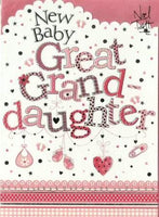 New Baby Card - Baby Great-Granddaughter - Garland