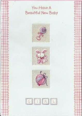 New Baby Card - Baby Girl - Windows Rattle Bunny, Soft Ball