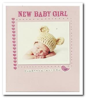 New Baby Card - Baby Girl - Hat With Bear Ears