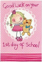 Good Luck Card - 1st Day of School - Girl Clutching Bear