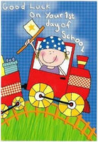 Good Luck Card - 1st Day of School - Boy In Train