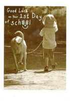 Good Luck Card - 1st Day of School - Boy Walking Dog