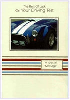 Good Luck Card - Driving Test - Blue Sports Car With White Stripes