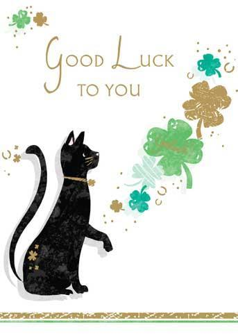 Good Luck Card - Lucky Black Cat