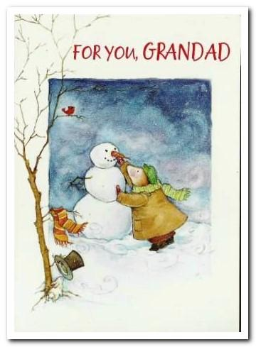 Christmas Card - Grandad - Decorating The Snowman